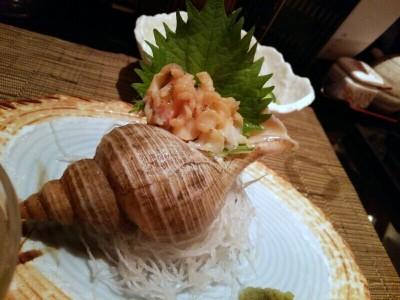 バイ刺。殻がついていて雰囲気◎@居酒屋 楽雅(高岡市)